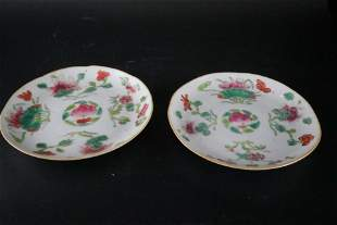 A Rare Pair of Famille-rose Dishes