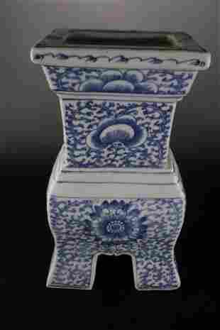A Rare Blue and White 'Flower' Censer