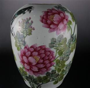 A Rare Celadon-Glazed Famille-rose Pot