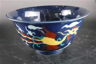 A Top Blue Glazed Wucai 'Dragon' Bowl