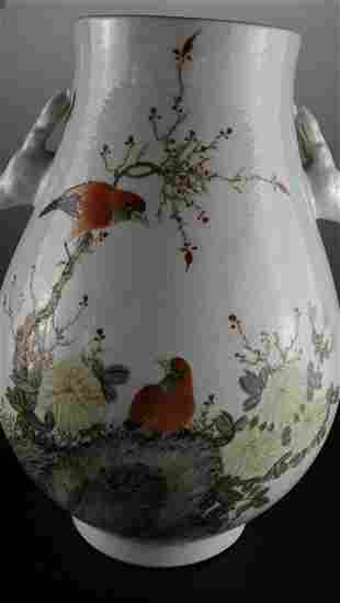 A Rare Famille-rose Deer-handle Pot