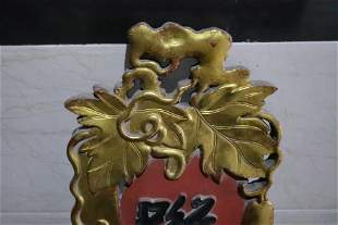 An Exquisite Pair of Gold-painted Wood Carving