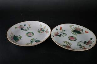 A Rare Pair of Famille-rose 'Peaches' Dishes