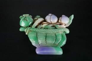 A Rare Jade Flower Basket