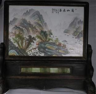 A Fine Porcelain Painting Table Screen