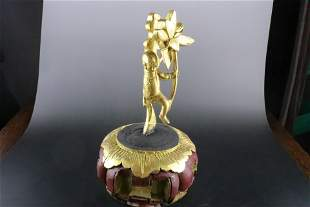 An Exquisite Gold-painted Wood Carving Ornament