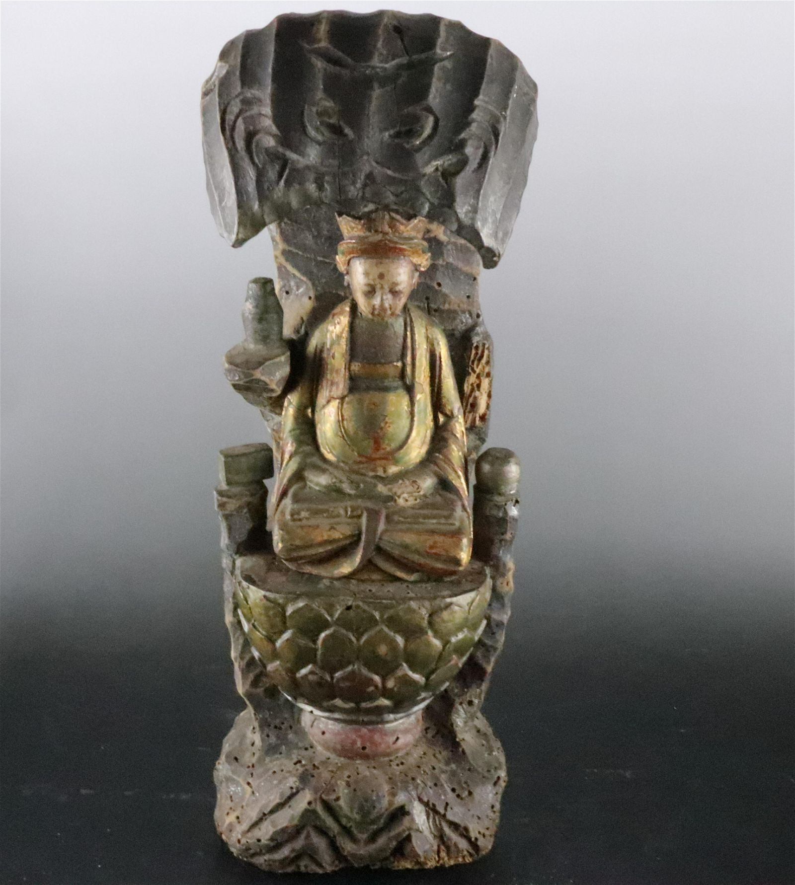 A Fine Gold-painted Wood Carving Figure of Shaman