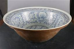 A Fine Blue and White 'Seaweed' Wash Pot