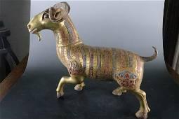A Fine Gilt-bronze 'Sheep' Ornament