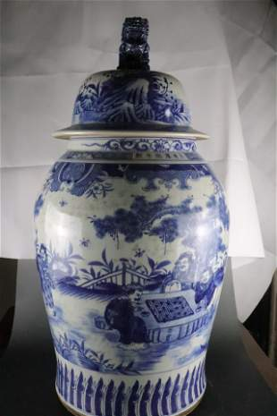 A Rare Pair of Blue and White Hat-covered Jars