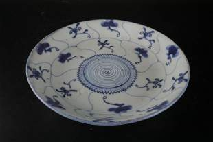 A Rare Blue and White 'Flower' Dish