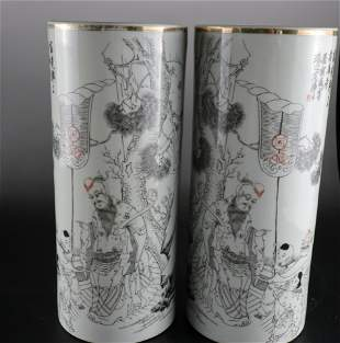 A Rare Pair of Gold Painted Poem Hat Stands