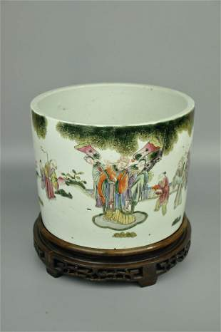 A Fine Famille-rose 'Character' Brush Pot
