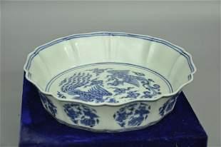 A Fine Blue and White Petal-shaped Dish