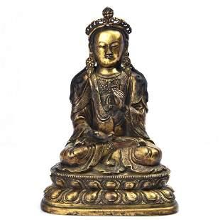 A Fine Gilt-bronze Figure of Guanyin