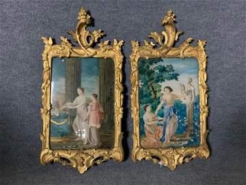 2 18thC Louis XV Verre Eglomise in Gilt Wood Frames