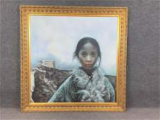 Oil on Canvas Tibet Girl After Ai Xuan