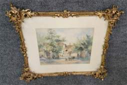 Watercolor In Guilt Frame Of Man Working In Village