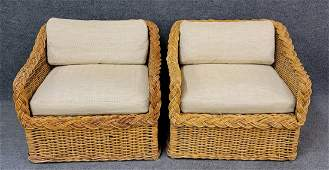 Brown Jordan Pair Of Wicker Chairs And Pair of Ottomans