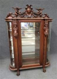 R.J Horner Carved Figural China Closet