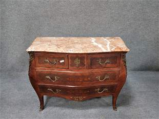 Marble Top French Inlaid Commode