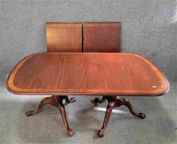 Banded Ethan Allen Dining Room Table W/ 2 Boards
