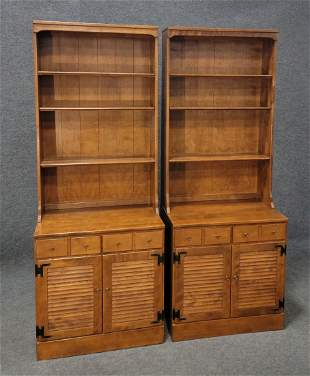 Pair Of Ethan Allen Maple Bookcases