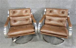 Pair Of Gardner Leaver Steelcase Leather Chairs