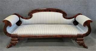 American Empire Carved Sofa