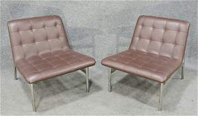 Pair Of Leather Chairs In The Manner Of Milo Baughman