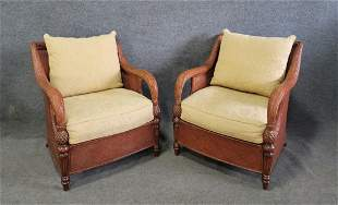 A Great Pair Of Rattan Chairs By Ethan Allen