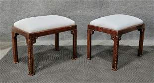 Pair Of Custom Chinese Chippendale Stools