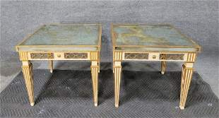 A Pair Of Jansen Style Mirror End Table