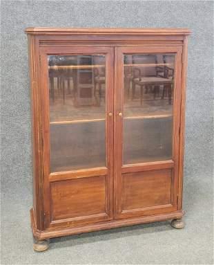 2 Door Antique Walnut Bookcase