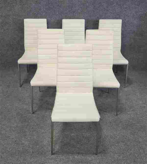 6 Leather Modern Chairs