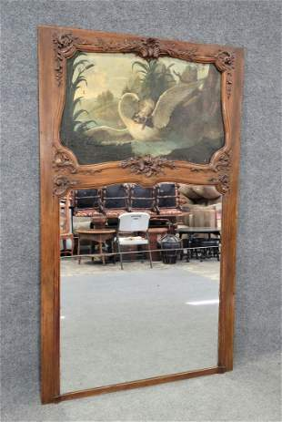 Very Large Antique Trumeau Mirror w/ Oil Painting