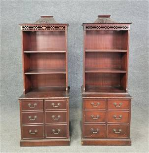 Pair Of Chinese Chippendale Bookcases (Flint + Horner