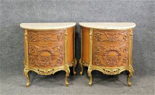 Pair Of Carved French Marble Top Commodes