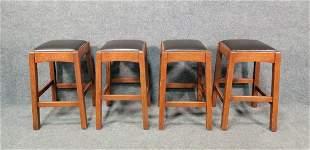 4 Signed Stickley Oak Barstools