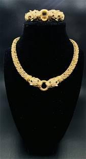 Ciner Panther Necklace and Bracelet