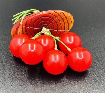 Bakelite Log with Red Cherries Brooch