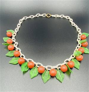 Bakelite Cherries Necklace with celluloid Chain