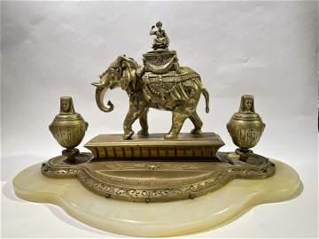 LARGE Antique Bronze Egyptian Themed Elephant Inkwell