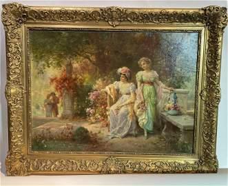 19th Century Painting Hans Zatzka Ladies in the Garden