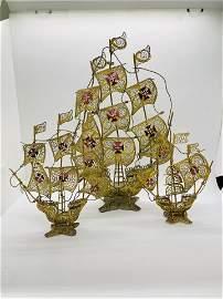 Bronze Enamel  Filigree Portugal Sail Ships Figures