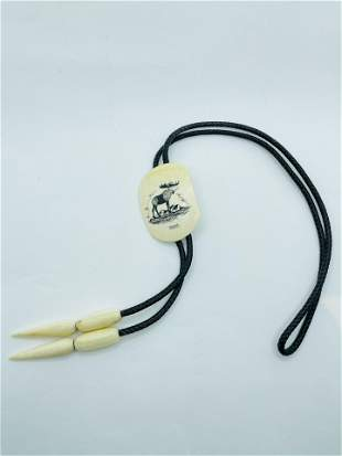 Vintage Scrimshaw Whale Tooth Bolo Tie Moose