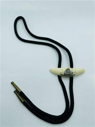 Vintage Scrimshaw Whale Tooth Bolo Tie Ships