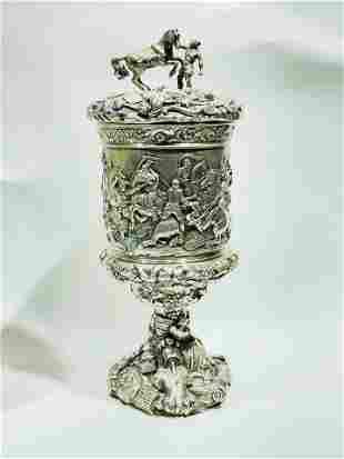 Antique Silver Italian Roman Battle Scene Goblet