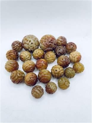Lot of 24 Chinese Brown Jade Stone Beads Large Medium