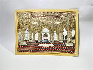 Indian Mughal Peacock Throne Watercolor Signed